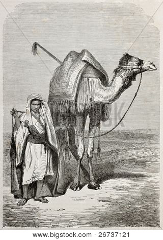 Old illustration of a boy holding camel's reins. Created by Pottin, published on Le Tour du Monde, Paris, 1864