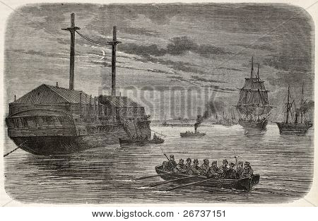 Boat  in Purfleet (along Tames river) watching against Fenians a floating gunpowder cargo. Created by Blanchard and Cosson-Smeeton, published on L'Illustration, Journal Universel, Paris, 1868
