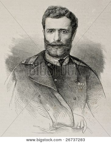 Old engraved portrait of Mihailo Obrenovic III, prince of Serbia, killed in 1868. Created by Chenu,  published on L'Illustration, Journal Universel, Paris, 1868