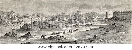 Old illustration of White river badlands, Nebraska, USA. Created by Lancelot and Laly, published on Le Tour du Monde, Paris, 1864