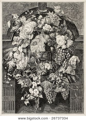 Antique illustration of a Mascaron framed by flowers: architectural decorative element. Created by Bruyas, published on Illustration, Journal Universel, Paris, 1868