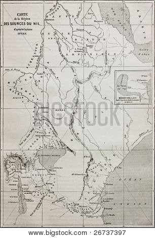 Old map of Nile sources region. Created by Erhard and Bonaparte, published on Le Tour du Monde, Paris, 1864