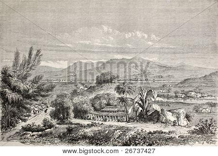 Antiga ilustração de Min vale, China. Criado por Lancelot e Cordier, publicado em Le Tour du Mond