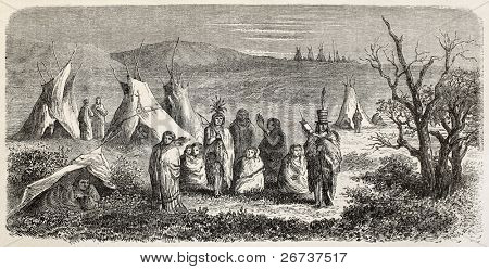 Old illustration of Sioux encampment. Created by Lancelot, after sketch of De Girardin, published on Le Tour du Monde, Paris, 1864