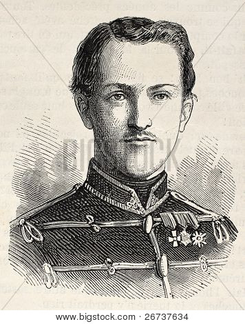 Old Engraved portrait of Prince Ernest Augustus of Hanover. Created by Chenu, published on L'Illustration, Journal Universel, Paris, 1868