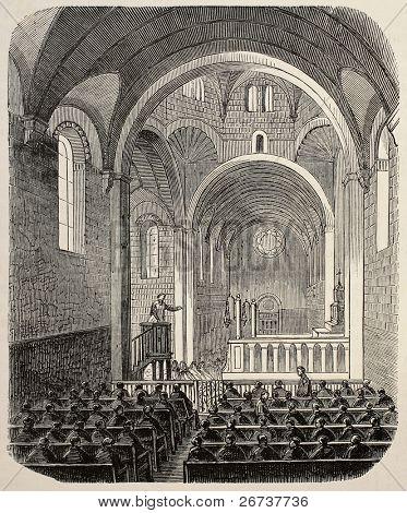 Old illustration of Sainte Anne asylum chapel, Paris. Created by Gaildrau, published on L'Illustration, Journal Universel, Paris, 1868