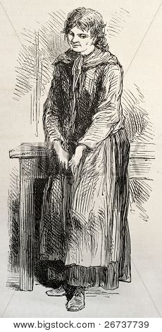 Old illustration of idiot type hospitalized in Sainte Anne asylum. Created by Pauquet, published on L'Illustration, Journal Universel, Paris, 1868