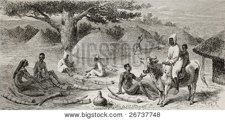 Old illustration of ivory traders in southern Sudan. Created by Bayard, published on Le Tour du Monde, Paris, 1864