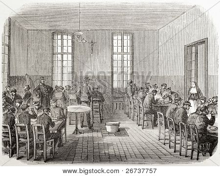Old illustration of refectory in Sainte Anne asylum. Created by Gaildrau, published on L'Illustration, Journal Universel, Paris, 1868