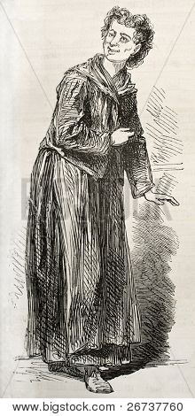 Old illustration of troubled type hospitalized in Sainte Anne asylum. Created by Pauquet, published on L'Illustration, Journal Universel, Paris, 1868