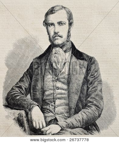 Old engraved portrait of  Edouard Thouvenel, French Minister of foreign affairs. Original, from drawing of Marc, was published on L'Illustration Journal Universel, Paris, 1860