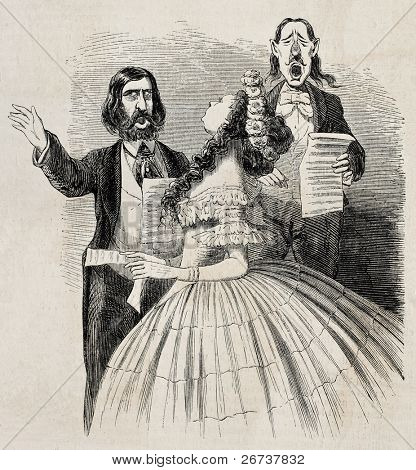 Antique caricatural illustration of singers trio. Original, from drawing of Carlo Gripp, was published on L'Illustration Journal Universel, Paris, 1860