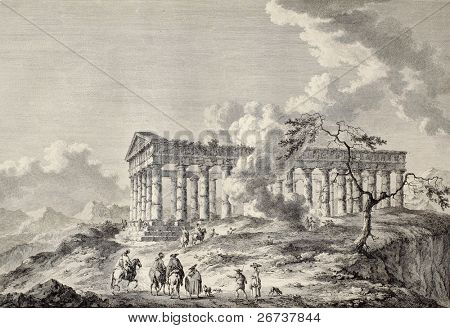 View of the temple of Segesta, western Sicily. By Chatelet and Masquelier, published on Voyage Pittoresque de Naples et de Sicilie,  J. C. R. de Saint Non, Imprimerie de Clousier, Paris, 1786