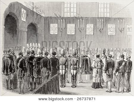 Antique illustration of solemn funereal tribute to Maximilian I of Mexico. Original, from drawing of Cosson-Smeeton, was published on L'Illustration, Journal Universel, Paris, 1868