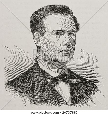 Old engraved portrait of Claudius Chervin, French educationalist and therapist, founder of Institute of Stammering in Paris. By Chenu, published on L'Illustration, Journal Universel, Paris, 1868