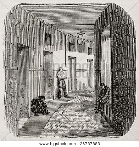 Antique illustration of corridor of confinement rooms at psychiatric hospital Saint Anne, Paris. Created by Gaildrau, published on L'Illustration, Journal Universel, Paris, 1868