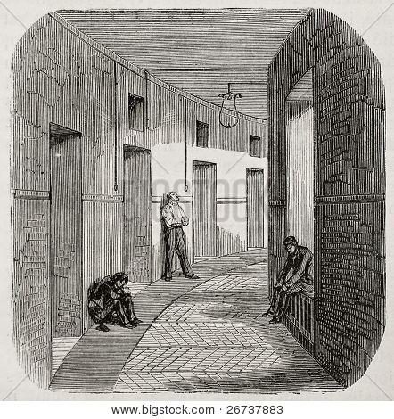 Antique illustration of corridor of confinement rooms at psychiatric hospital Saint Anne, Paris. Created by Gaildrau, published on L'Illustration, Journal Universel, Paris, 1868