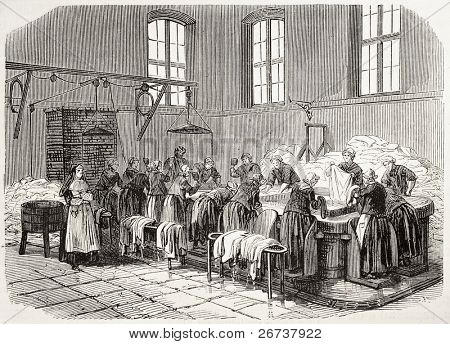 Antique illustration of the Laundry of Saint Anne psychiatric hospital. Original, creatd by Gaildrau, was published on L'Illustration, Journal Universel, Paris, 1868