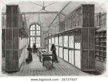Antique illustration of the lingerie storeroom of Saint Anne psychiatric hospital. Original, creatd by Gaildrau, was published on L'Illustration, Journal Universel, Paris, 1868