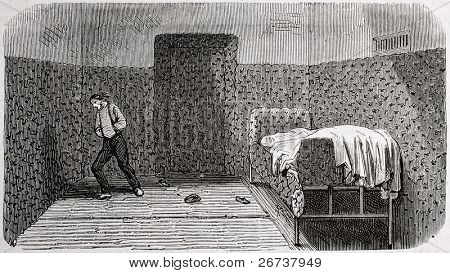 Antique illustration of a padded room at psychiatric hospital Saint Anne, Paris. Creatd by Gaildrau, published on L'Illustration, Journal Universel, Paris, 1868