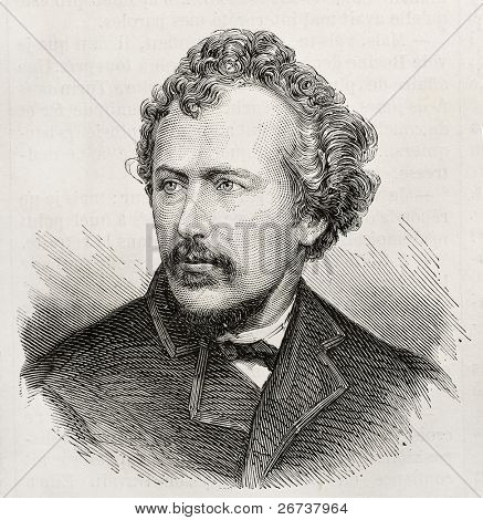 Old engraved portrait of George Francis Train, American businessman and eccentric author. Original, created by Chenu, was published on L'Illustration, Journal Universel, Paris, 1868