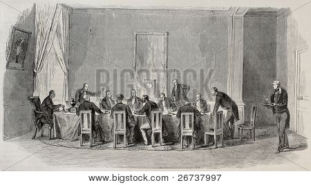 Antique illustration of Parliamentary Commission working in a meeting hall in Palais Bourbon, Paris. Created by Pauquet, was published on L'Illustration, Journal Universel, Paris, 1868