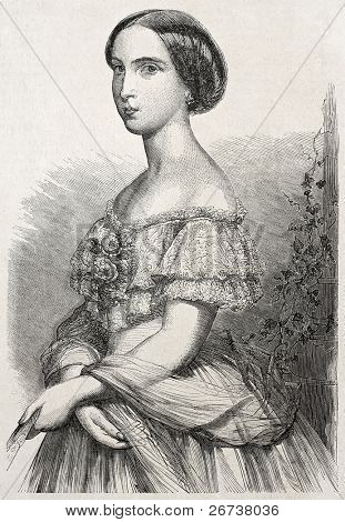 Old engraved portrait of Princess Charlotte of Belgium. Created ny Schubert, published un L'Illustration Journal Universel, Paris, 1857