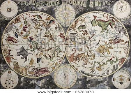Mapa antigo do céu representando hemisférios boreais e austral com constelações e signos do zodíaco. B criado