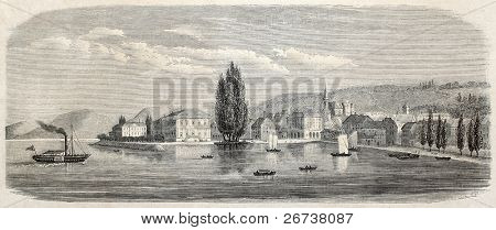 Old view of Neuchatel, the capital of Swiss canton of the same name. Created by Freeman, published on L'Illustration Journal Universel, Paris, 1857