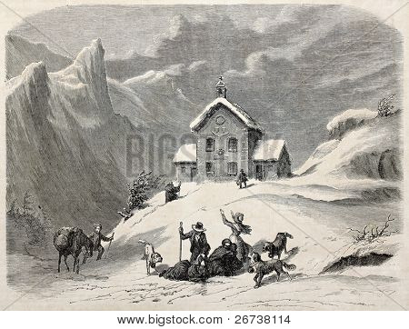 Old illustration of refuge Napoleon, Hautes-Alpes department, France. Created by Guignes, published on L'Illustration Journal Universel, Paris, 1857