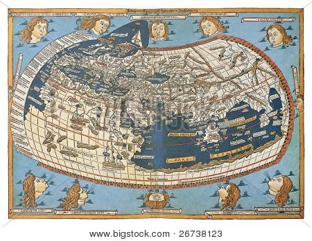 Map of the world (in those days known), after Claudius Ptolemy's work (Egyptian Roman, mathematician, astronomer, astrologer and geographer in 2nd century), engraved by Johannes Schnitzer, Ulm, 1492