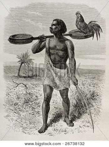 Old illustration of Unyamwezi native, Tanzania. Created by Bayard, published on Le Tour du Monde, Paris, 1864