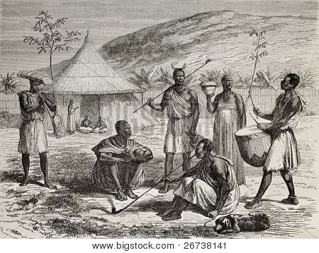 Old illustration of Ugandan boss and his living context. Created by Durand and Bertrand, published on Le Tour du Monde, Paris, 1864