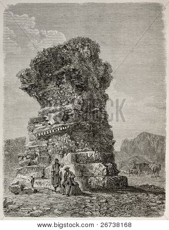 Old illustration of ruins of a Byzantine church built with debris of Greek temples, Sardis, Turkey. Created by Gaiaud, published on Le Tour du Monde, Paris, 1864