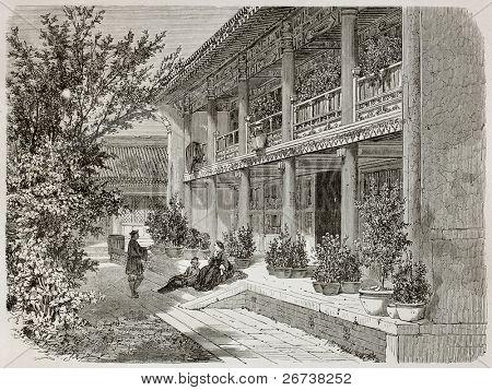 Antiga ilustração da varanda de missão diplomática britânica em Pequim. Criado por Therond, publicado em Le Tour d