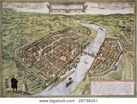 Frankfurt old map, from Civitates Orbis Terrarum. Created by Georg Braun and Frans Hogenberg. Published in Cologne, Germany, 1572