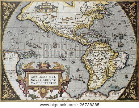 Mapa antiguo de América, de Theatrum Orbis Terrarum, el primer Atlas del mundo. Creado por Abraham Orte