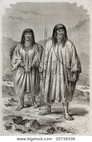Old illustration of Antis natives, Peruvian indigenous. Created by Riou, published on Le Tour du Monde, Paris, 1864