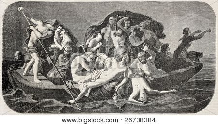 Old illustration of Charon's boat. Created by Feyen-Perrin, published on L'Illustration Journal Universel, Paris, 1857