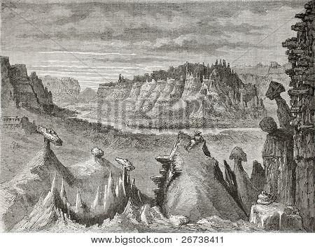 Antiga ilustração de badlands Little Missouri, Dakota do Norte. Criado por Lancelot, publicado no Le Tou