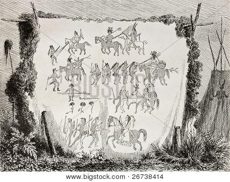 Antiga ilustração da arte indígena: desenhos e hyerogliphics om uma pele de búfalo. Criado por La
