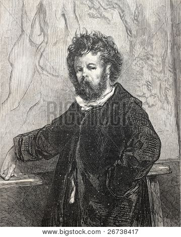 Old engraved self portrait of Paul Gavarni, French, illustrator and cartoonist. Published on L'Illustration Journal Universel, Paris, 1857