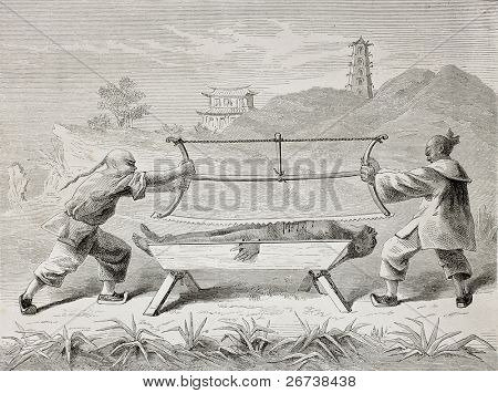 Old illustration of a terrifying Chinese torture for parricides. Created by Bayard after Treves, published on Le Tour du Monde, Paris, 1864