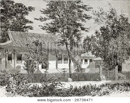 Old illustration of French legation in Beijing, secretary's residence. Created by Therond, published on Le Tour du Monde, Paris, 1864
