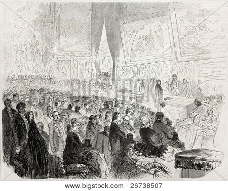 Old illustration of rewarding ceremony of Salon of Painting and Sculpture. Created by Ferat, published on L'Illustration Journal Universel, Paris, 1857