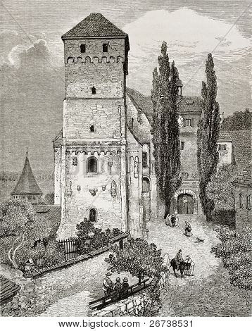 Old illustration of Nuremberg castle gate. Created by Gerard, published on Le Tour du Monde, Paris, 1864