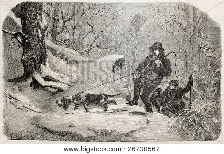 Old illustration of hunters following wild boar's blood traces. Created by Schutzenberger, published on L'Illustration Journal Universel, Paris, 1857