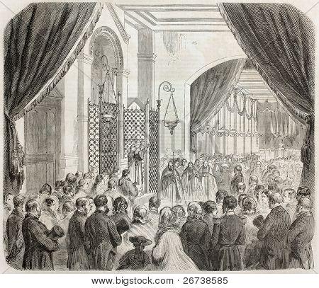Vieja ilustración de inauguración del asilo imperial de Vincennes. Creado por Godefroy-Durand, publicado en