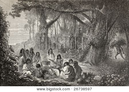 Old illustration of a group of natives Peruvian cooking on the bonfire. Created by Riou, published on Le Tour du Monde, Paris, 1864