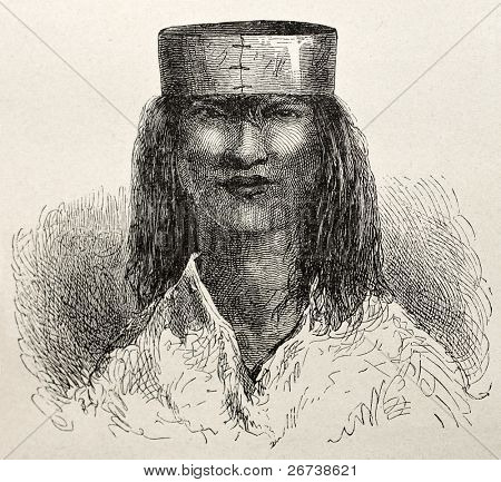 Old illustration of a native Peruvian of Saniriato region. Created by Riou, published on Le Tour du Monde, Paris, 1864